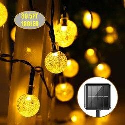 12 м 100 светодиодный хрустальный шар Солнечный водонепроницаемый открытый гирлянды солнечной энергии Глобус сказочные огни для Рождества