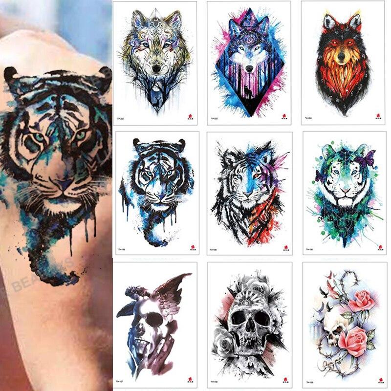 100Pcs Waterproof Flower Animal Temporary Tattoo Sticker Wholesales Rose Flash Wolf Tiger Body Art Arm Sexy Men Women Sleeve
