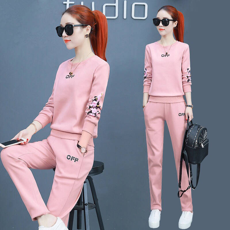 Sports Clothing WOMEN'S Suit 2019 Autumn New Style Students Korean-style Loose Fashion Casual Large Size Two-Piece Set