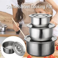 3PCS Stainless Steel Cooking Stock Pots Set Stainless Steel Food Container Pot No Handle Multi purpose Cookware Kitchen Tools