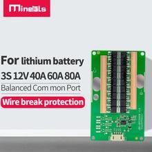 3s bms التوازن 12 فولت 40A 60A 80A 12 فولت ليثيوم أيون بطارية حماية لوحة 11.1 فولت 12.6 فولت 18650 ليثيوم أيون بطارية حماية