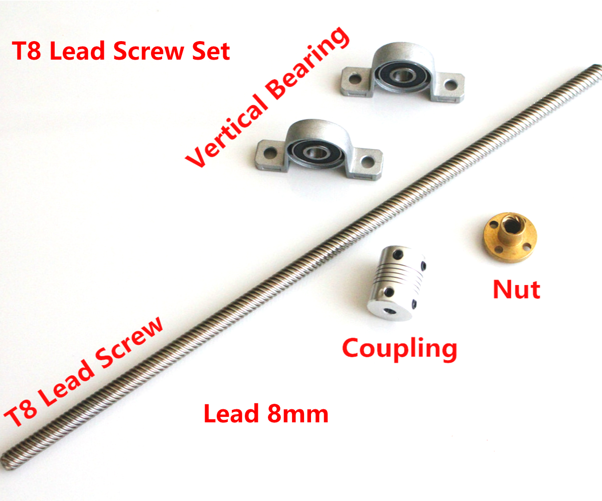 T8 Lead Screw 100mm 200mm 300mm 400mm 500mm 1000mm 8 Mm With Nut+KP08 Bearing Bracket +5X8 Mm Flexible Coupling 3D Printer Parts