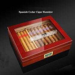 COHIBA cèdre bois cave à cigares boîte voyage bois étui à cigares stockage 35 cigares boîte humidificateur avec humidificateur pour cigares CH-010