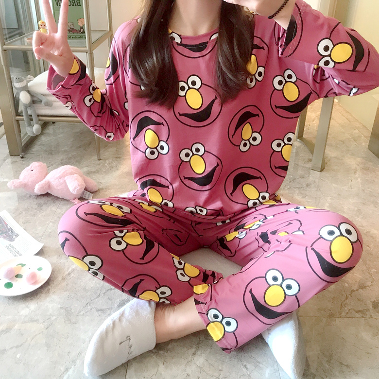 Wholesale Pajamas Sets Spring Autumn 2020 New Thin Carton Generation Women Long Sleepwear Polyester Women Gift Female Sleepwear