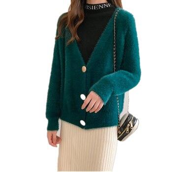 Winter Women Cardigans Casual Loose Autumn Single Breasted V-nek Long Sleeve Mohair Sweater Korean Chic Vintage Knitted Jumpers nek pescara