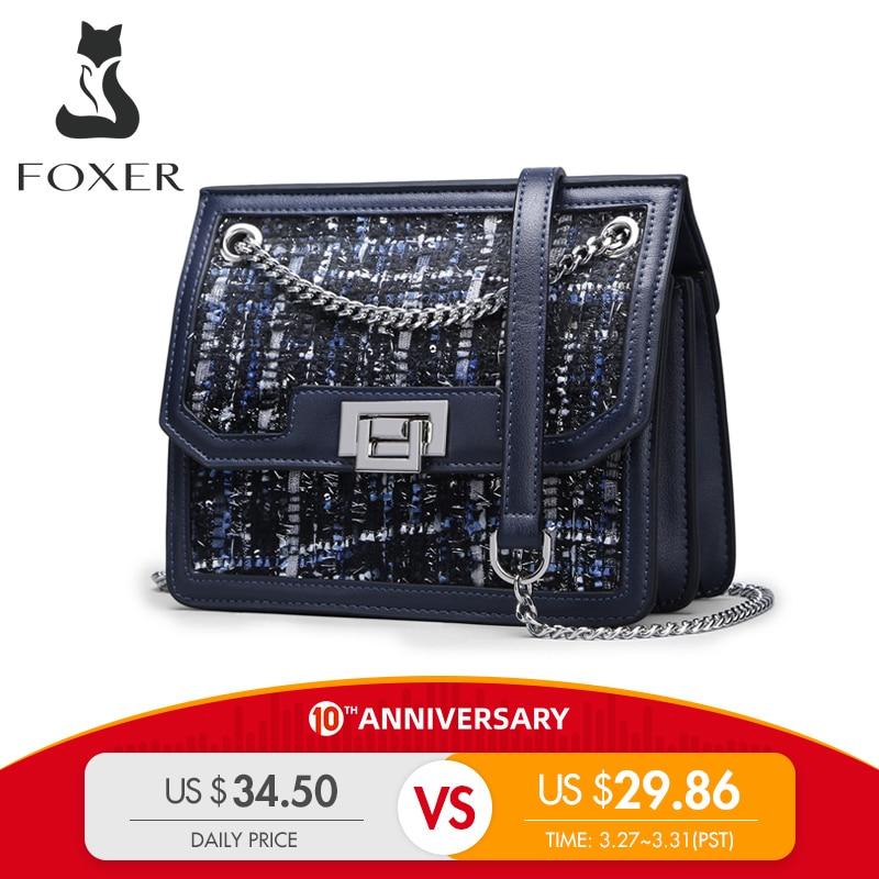 FOXER Lady Brand Design Chain Strap Messenger Bags Female Shoulder Bag New Fashion Crossbody Bag Women High Quality Elegant Flap