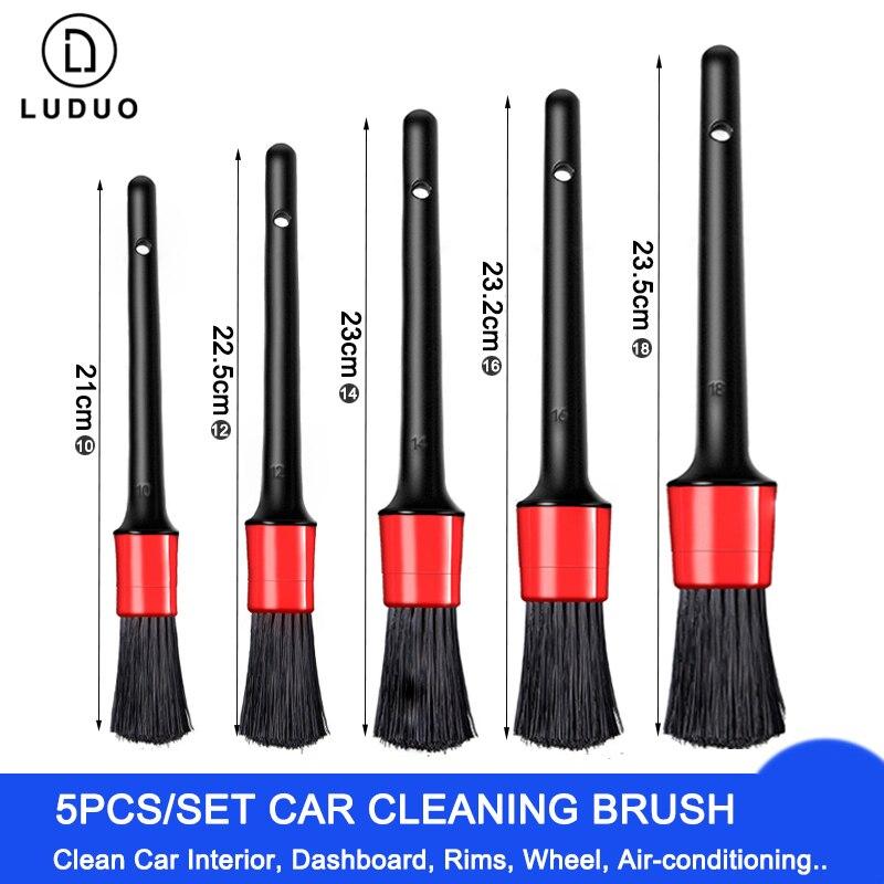 LUDUO 5Pcs Car Cleaning Brush Natural Boar Hair Handle Car Detailing Brushes Set Dashboard Rims Wheels Beauty Wash Sponges Tools