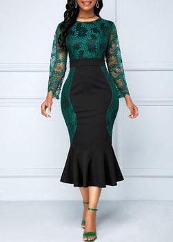 2019 Autumn New Large Size Dress O-neck High Waist Stitching Hook Flower Hollow Fishtail Dress Large Size Dress Women Vestidos
