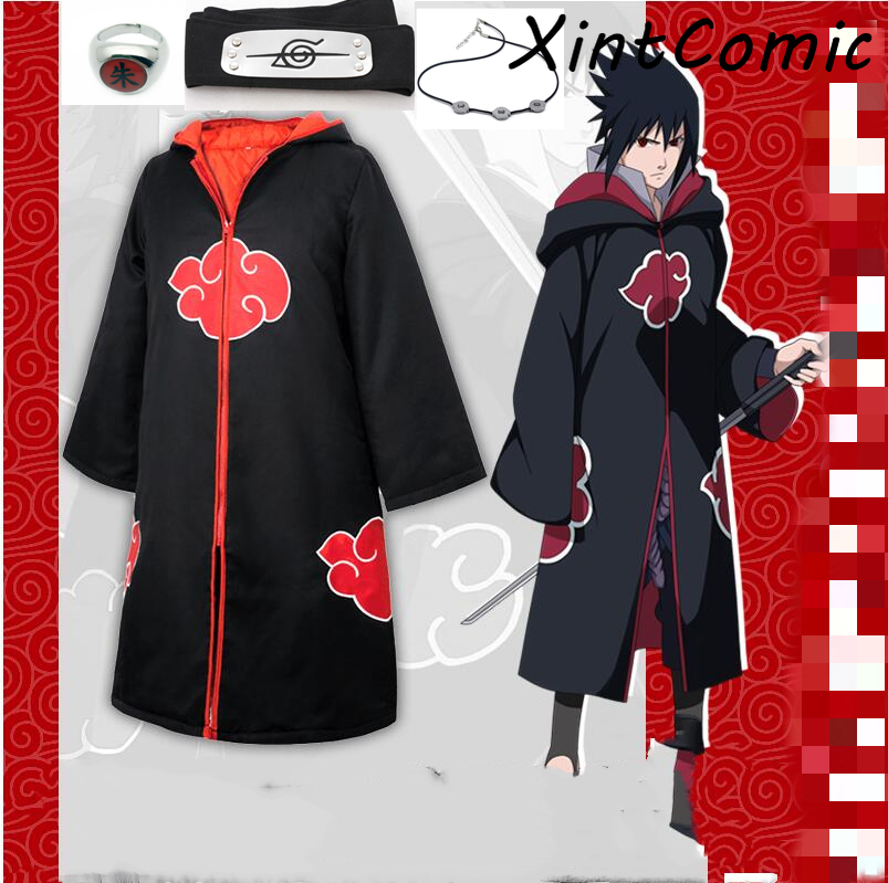 Anime Naruto Akatsuki /Uchiha Itachi Cosplay Halloween Christmas Party Costume Cloak Cape Headband Ring Necklace Props Sets
