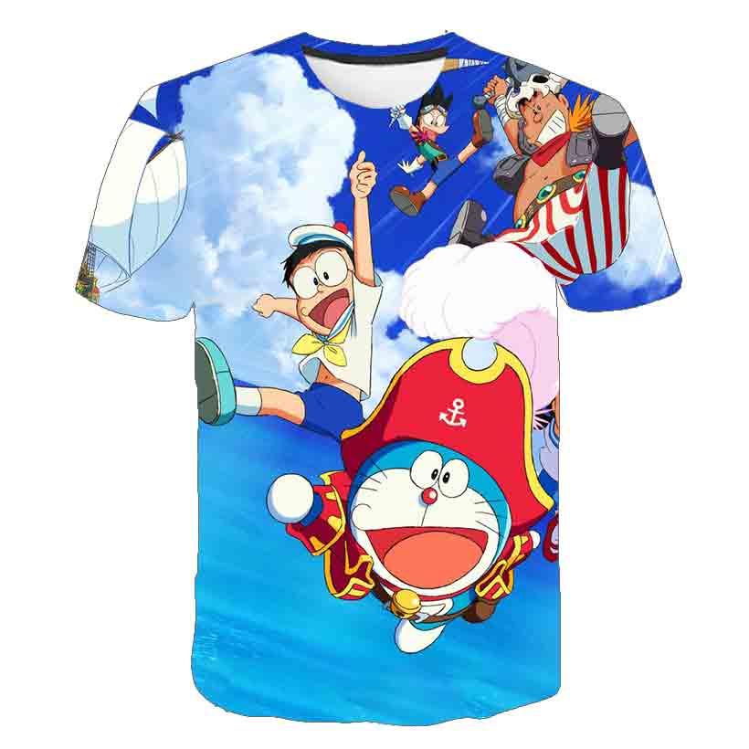 Cute Blue Fat Cat Boys T Shirt Kids Japan Anime Tshirt Comic story T-Shirts Girls Child clothes Children Clothing Tee Shirt Tops