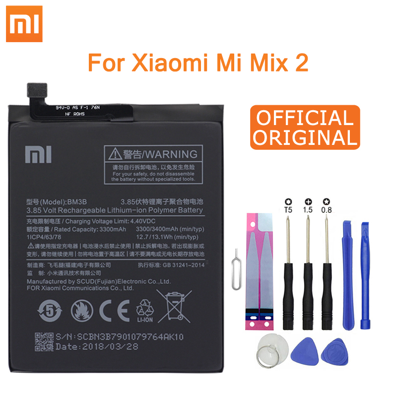 Xiao Mi Original Replacement Phone Battery BM3B For Xiaomi Mix 2 / Mix 2S 3300mAh High Capacity Phone Batteries Free Tools