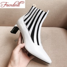 FACNDINLL new fashion brand autumn ankle boots for women shoes sexy high heels black white dress party riding boots size 34-40 ntnt free post new 6 arm brush kit for irobot roomba 600 700 series 620 630 650 660 680 760 770 780