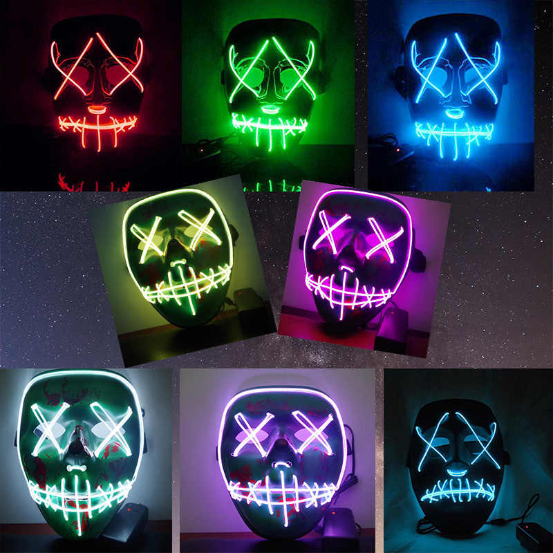 Halloween LED Mask Funny Light Up Mask From The Purge Election Year Great For Festival Cosplay Costume New Year Party Mask