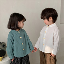 Spring 2021 Boys Solid Color Shirts Korean style Baby Girls Cotton Linen Long Sleeve Shirts Children Tops Clothing