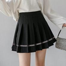 Faldas Coreanas para Mujer, minifaldas de cintura alta, ajustado plisado, unicolor, con costuras