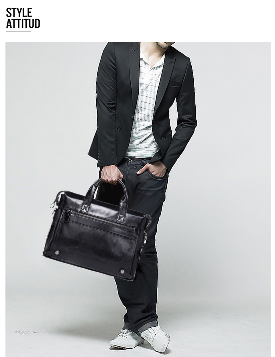 Men's Business Briefcase Leather Shoulder Crossbody Laptop Men's Bag