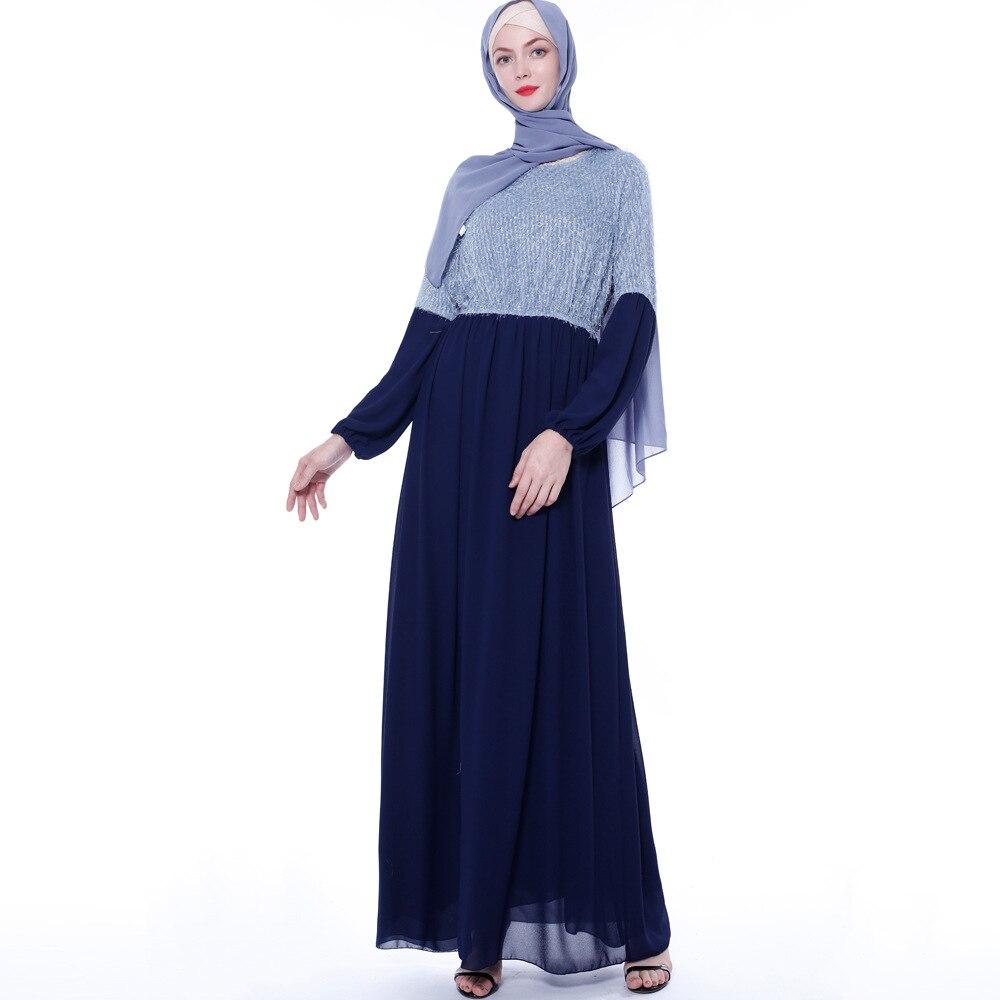 Mode couleur correspondant robe islamique turquie dubaï mince robe élégante femme robe musulmane robes arabes