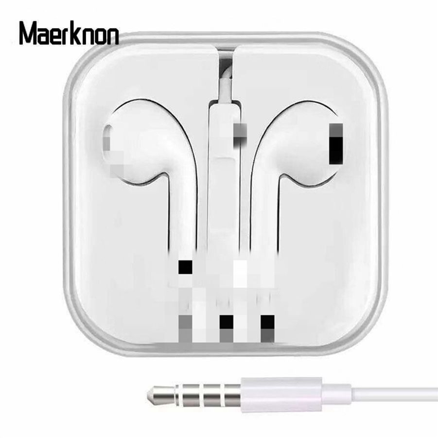 3.5mm Original Official Earphones Wire Hybrid Stereo In-Ear Earphone With Mic Wire Sound Control For IPhone 6 6S Plus 5 5S SE