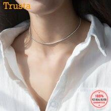 Trustdavis – collier ras du cou en argent Sterling 925 véritable pour femme, bijou de mariage, ras du cou, éblouissant, cadeau, DS1869