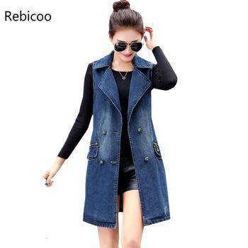 цена Autumn denim vest women  Korean Plus size Double-breasted sleeveless jean ladies long vest elegant women's coats онлайн в 2017 году