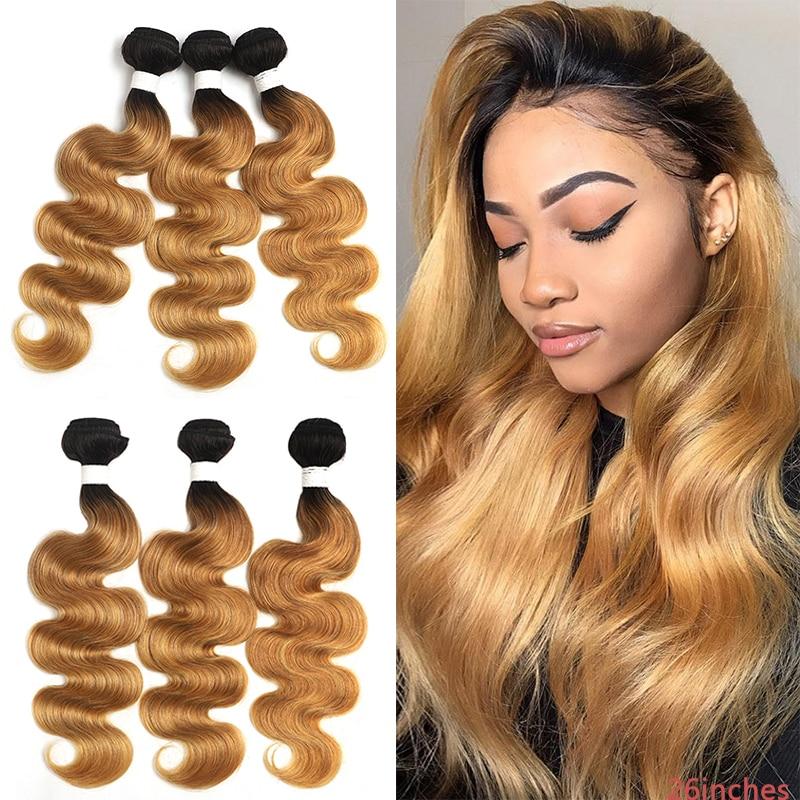 T1B/27 Омбре бразильские волнистые волосы пряди 8-26 дюймов медовый блонд человеческие волосы для наращивания 1/3/4 шт не Реми волосы плетение пря...
