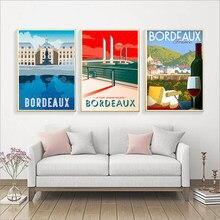 Toile de peinture murale en papier Kraft, pays du vin français, Bordeaux, carte de voyage, rétro, affiche d'art imprimé, décoration de maison