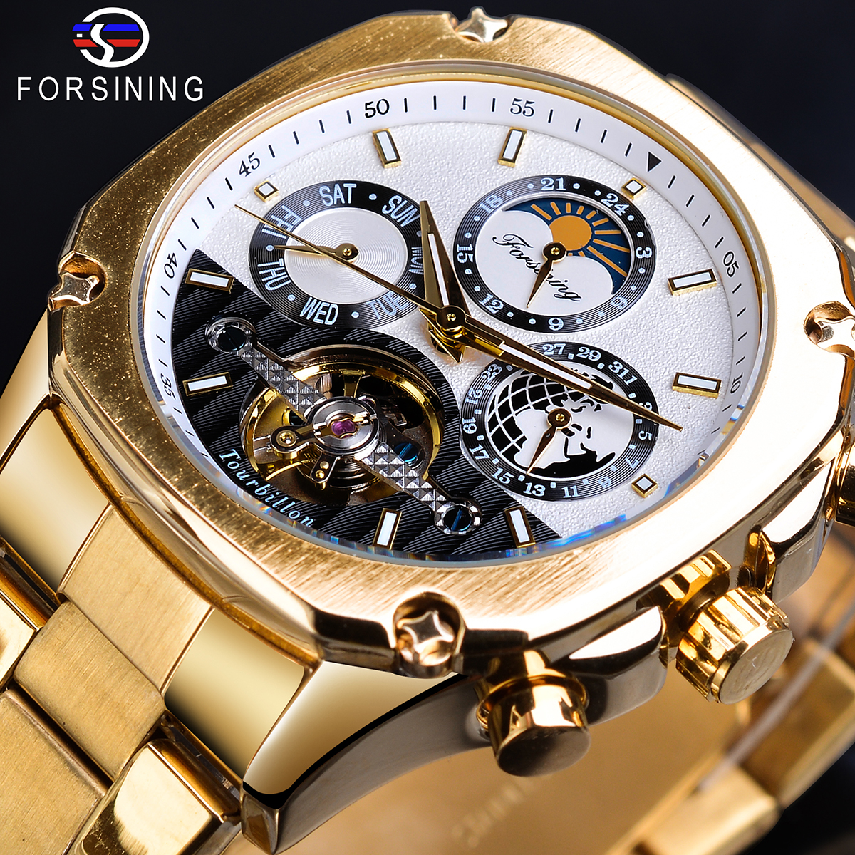 Forsining Golden Tourbillon Moonphase Mechanical Watches Automatic Male Transparent Gear Self Wind Steel Band Clock Wristwatches|Mechanical Watches| |  - title=