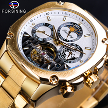 Forsining Golden Tourbillon Moonphase Mechanical Watches Automatic Male Transparent Gear Self Wind Steel Band Clock Wristwatches