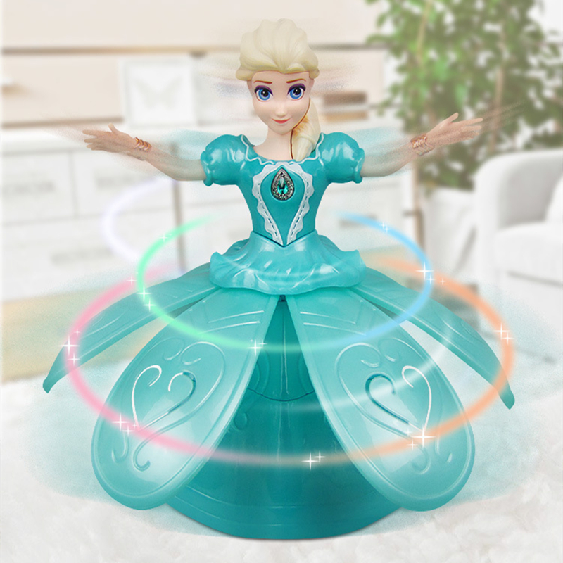 Image 5 - Electric Dancing Princess Doll Toys Elsa Anna Doll with Wings Action Figure Rotating Projection Light Music Model Dolls For GirlElectronic Pets   -