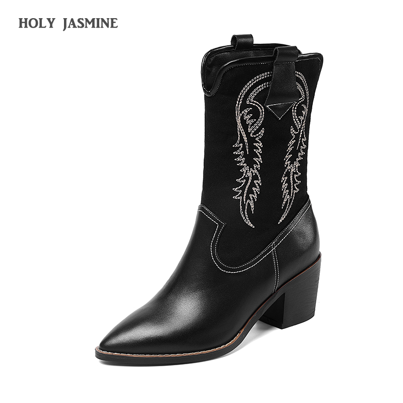 Womens Winter Fashion 2019 Ankle Boots For Women Genuine Leather Western Cowgirl Boots Pointed Toe Black Winter Cowboy Boots