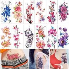 Водостойкие 3d временные красные татуировки с цветами розы 36