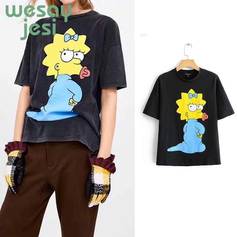 2019 Summer women t shirt top harajuku streetwear Cartoon Lion and Pink Panther Printing character cotton o neck women tops in T Shirts from Women 39 s Clothing