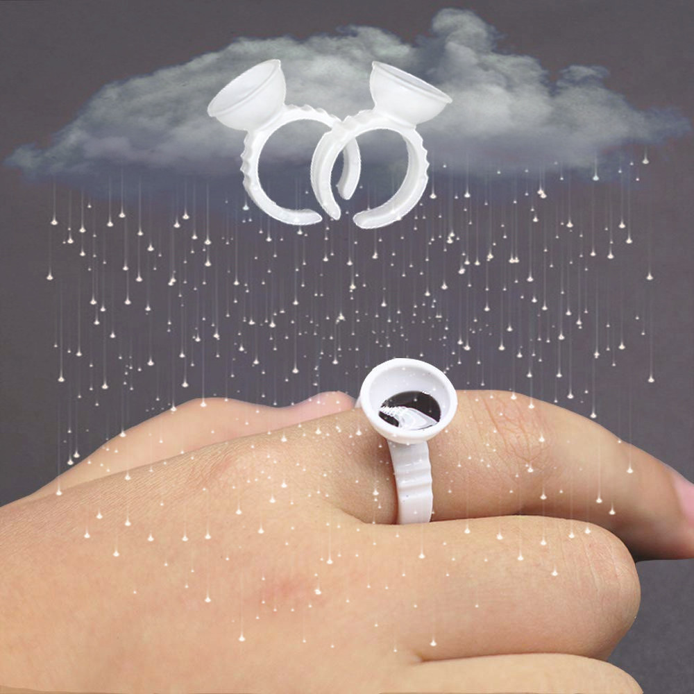Disposable Rings For Lashes 100pcs Glue Container Eyelash Extension Supplies Rings Cups Disposable Glue Rings Adhesive