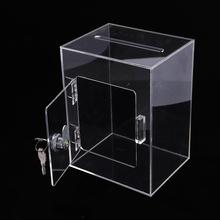 Acrylic Suggestions Box With Lock Transparent Fundraising Box With Keylock Suggestion Charity Donation Box For Ballot Survey