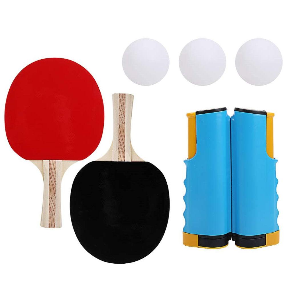 Professional Table Tennis Sports Trainning Set Retractable Ping Pong Post Net Rack With 1Pair Table Tennis Paddle 3PCS Balls Kit