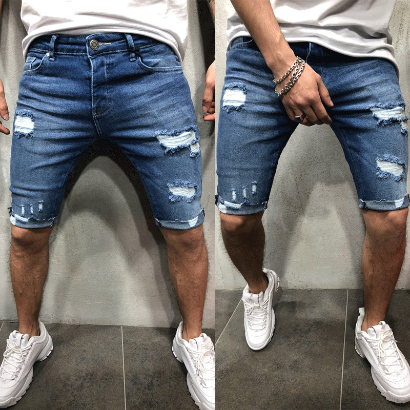 New Men Casual Shorts Fashion Jeans Short Pants Destroyed Skinny Jeans Ripped Pant Frayed Denim