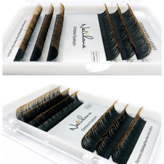 NATUHANA Ombre Blue Purple Red Brown Green Color Eyelash Extension Individual Synthetic Mink Gradient Color EyeLashes False Lash 3
