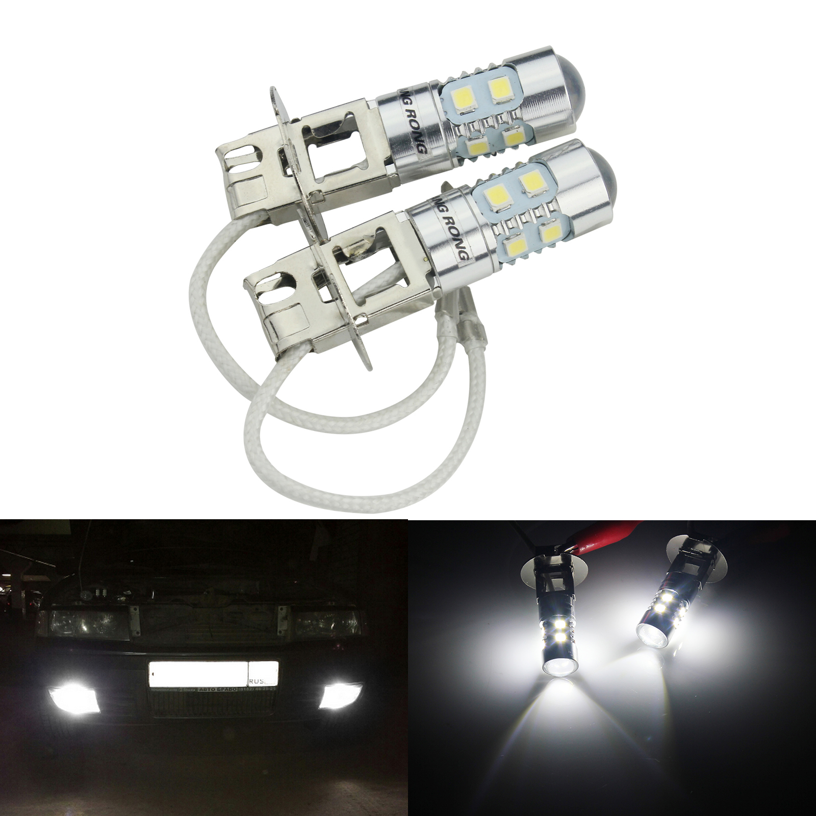 High Power!1Pcs H3C 2323 10 SMD LED Car Fog Light Daytime Running Light Turn Bulb With lens White 12V 24V