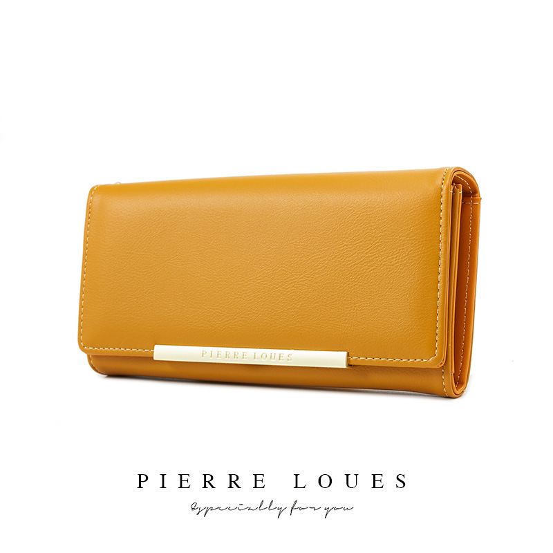Korean solid color bi-fold walletSimple Big Hold Women's Clutches Pierre Louis Wallet