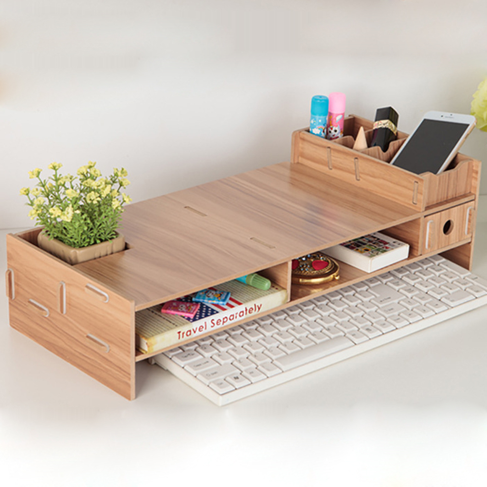 DIY Wooden Desktop Monitor Stand Multi-function Computer Screen Riser Wood Shelf Plinth Laptop Stand Desk Holder For Notebook TV