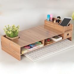 DIY Wooden Desktop Monitor Stand Multi-function Computer Screen Riser Wood Shelf Plinth Laptop Stand Desk Holder For Notebook TV