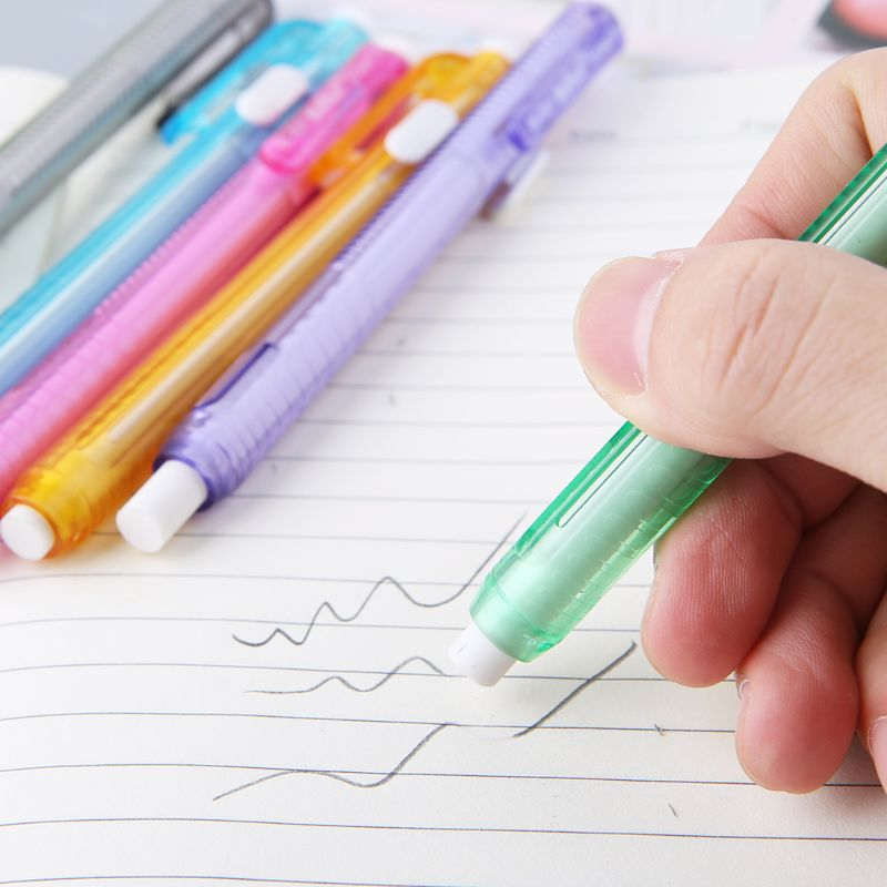 Creative Press Pen Shaped Eraser Writing Drawing Pencil Erase Student School Office Stationery Learning Painting Accessory