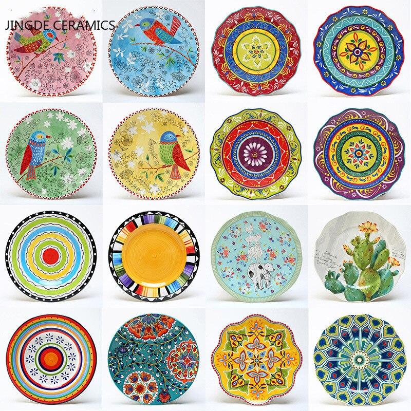 8 inch round hand-painted flower ceramic plate fruit salad plate dessert steak cuisine kitchen storage decorative tableware