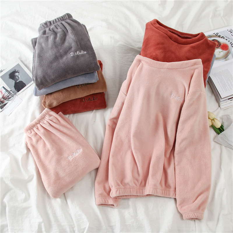 2019 Autumn And Winter New Style Fairy Warm Pants Coral Velvet Home Sleep Pants Loose Casual Large Size Outer Wear Set Tops