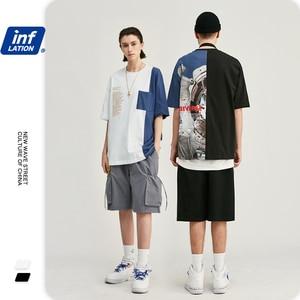Image 1 - Инфляции мужская одежда футболка мужская Цвет блок астронавт печати футболка футболки с коротким рукавом мужские 2019 Летняя мода уличная Swag футболки для супружеской пары толстовка мужская 91218 S
