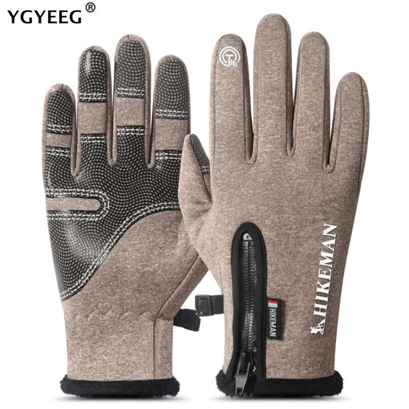 YGYEEG Winter Autumn Warm Men Knitted Gloves Flexible Full Finger Touched Screen Gloves Male Thicken Wool Cashmere Solid Glove