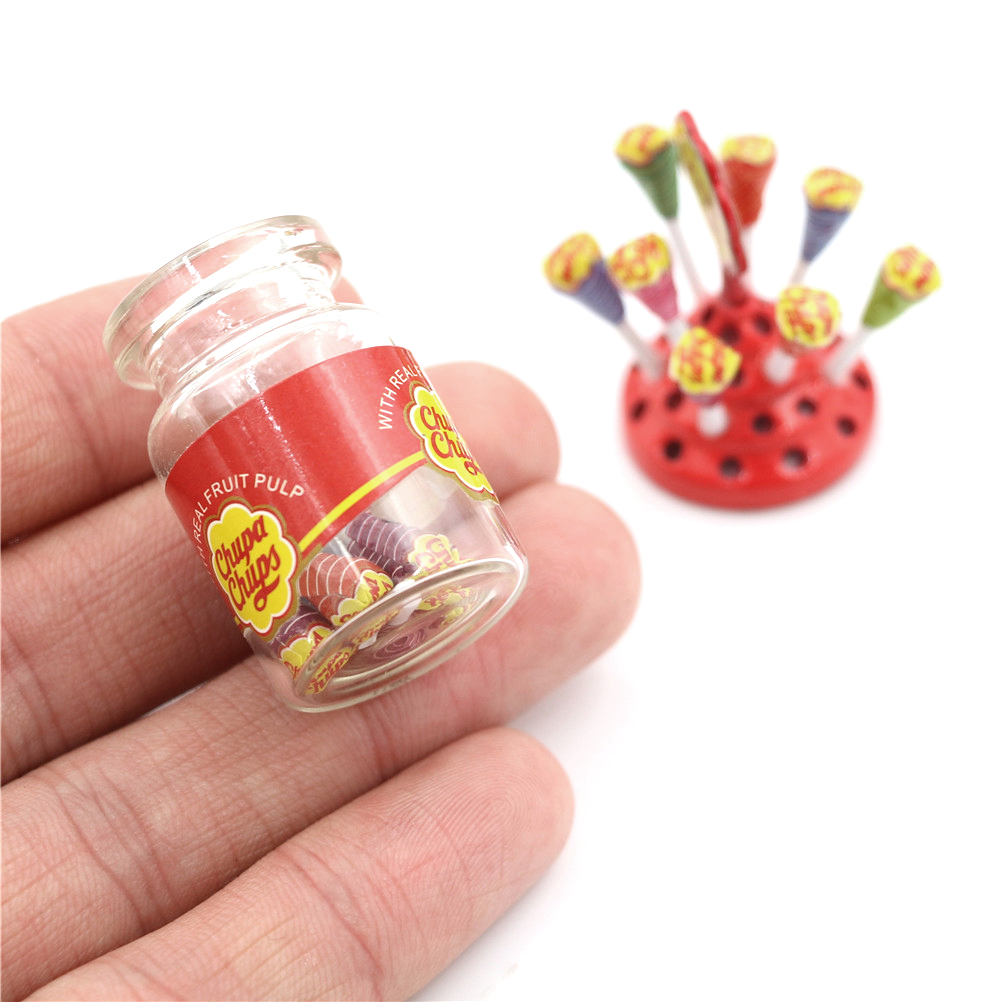 Miniature Food Dessert Sugar Mini Lollipops With Case Holder Candy For Doll House 1/12 Kitchen Furniture Toys Accessories Gifts