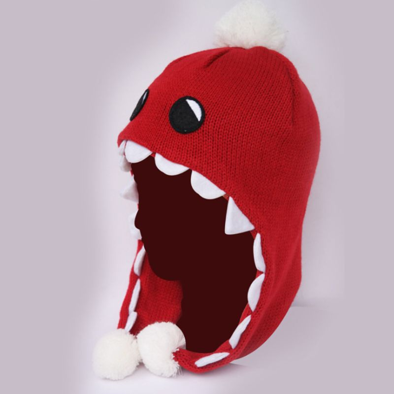 Adult Children Unisex Winter Earflap Beanie Hat Cute Cartoon Monster Pompom Double Layer Preppy Style Student Knitted Warm Cap