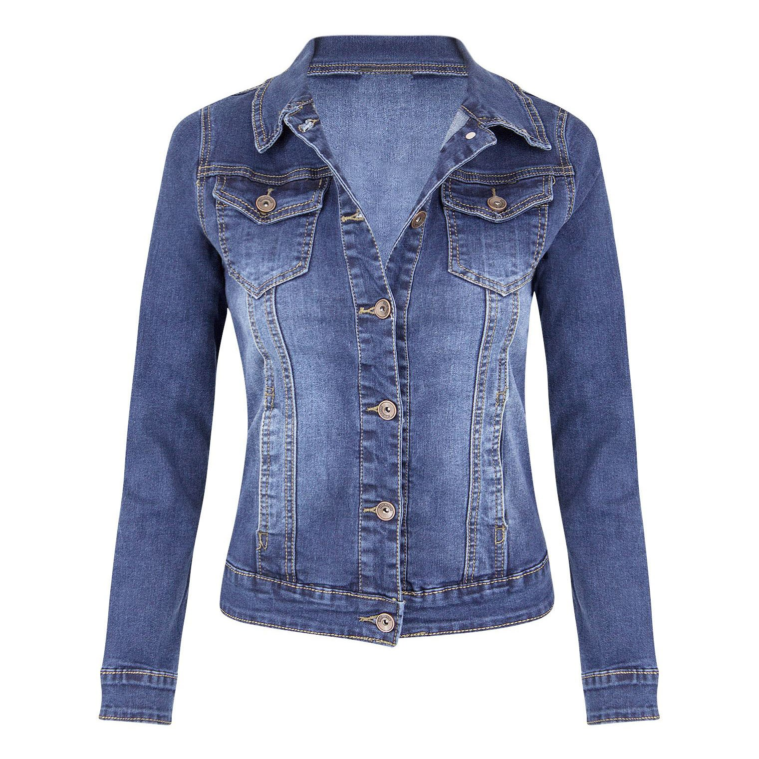 Fashion Womens Basic Jackets Women's Casual Coat Solid Women Long Sleeve Denim Jacket Coat Outcoat