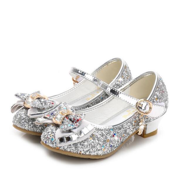 girls Sandals Rhinestone pink Latin dance shoes 5-13 years old 6 children 7 summer high Heel Princess shoes kids Elsa sandal title=
